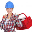 Handywomholding toolbox. — Stock Photo #11854780