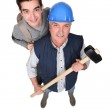 A manual worker and his grandson. — Stock Photo #11855178