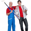 Stock Photo: Decorator and apprentice