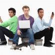 Three male students — Stock Photo