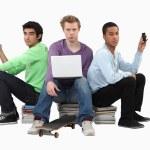 Three male students — Stock Photo