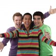 Three friends cheering. — Stock Photo