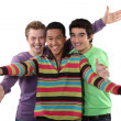 Foto de Stock  : Three male friends making welcome gesture