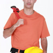 Man with an adjustable wrench — Stock Photo #11858278