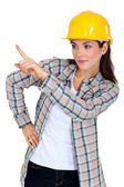 Woman supervising work — Stock Photo