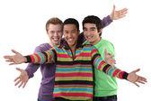 Hoş bir jest yaparak üç erkek arkadaş — Stok fotoğraf
