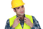 Workman in a reflective vest — Stock Photo