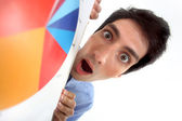 Man shocked with mouth wide open — Stock Photo