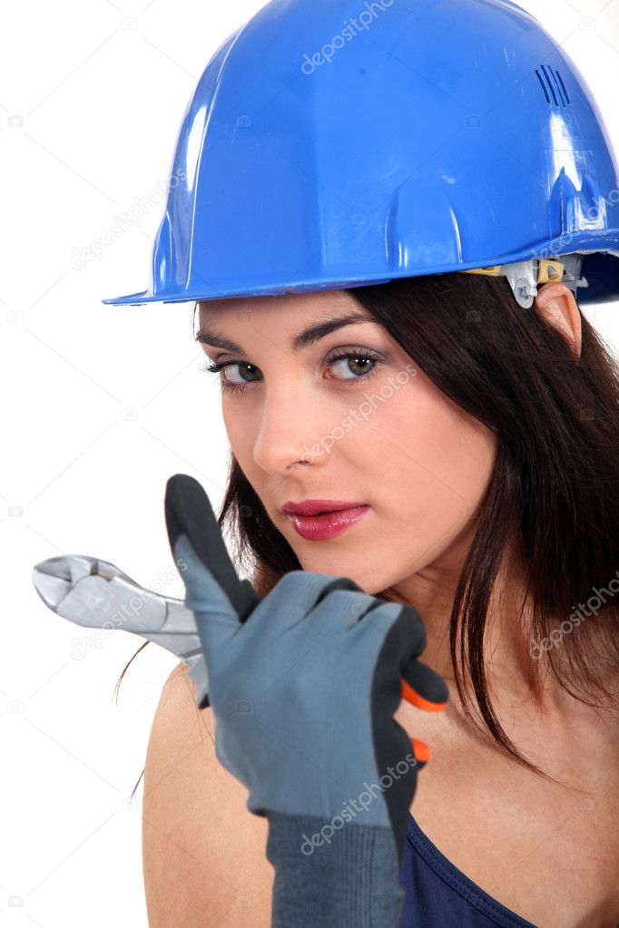 Seductive female electrician — Stock Photo #11853925