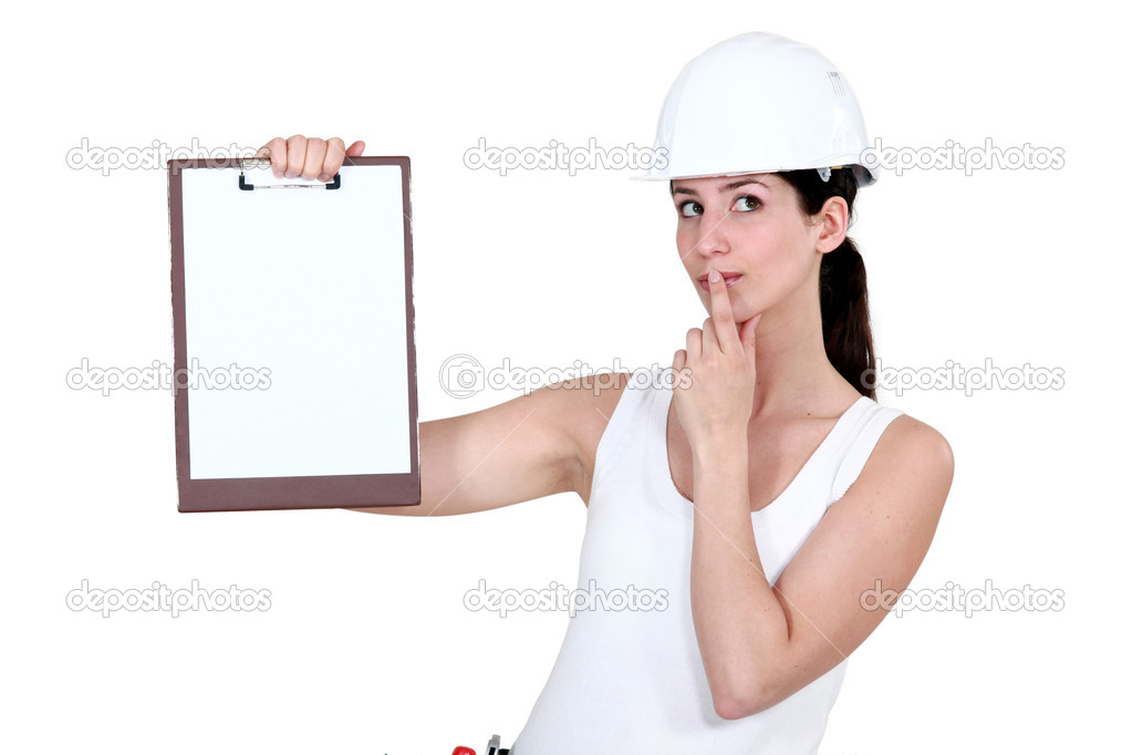 Woman with clip-board making shush gesture — Foto Stock #11857145