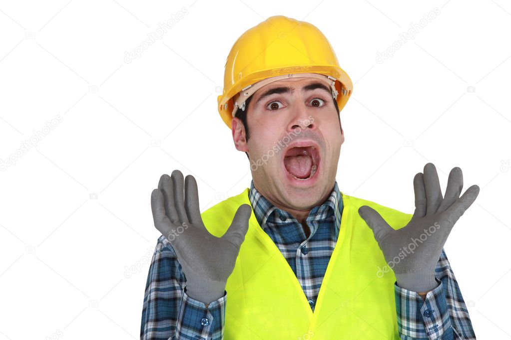 Construction worker letting out a cry of horror — Stock Photo #11857806