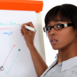 Stock Photo: Young womwriting on paperboard