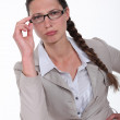 Stock Photo: Pensive businesswoman