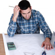 Draughtsman working on a new drawing — Stock Photo