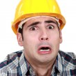 Stock Photo: Terrified builder