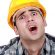 Stock Photo: Horrified tradesman