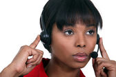Woman with headphones and microphone — Stock Photo