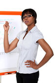 Businesswoman pointing to a chart during a presentation — Stock Photo