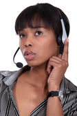 Pensive call-center worker — Stock Photo
