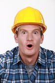 Builder in state of disbelief — Stock Photo