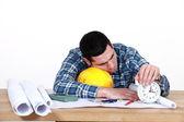 Craftsman sleeping at his desk — Stock Photo