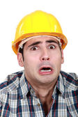 Terrified builder — Stock Photo