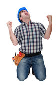 Craftsman shouting — Stock Photo