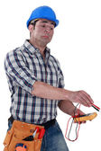 Nervous electrician — Stock Photo