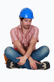 Tired looking construction worker — Stock Photo