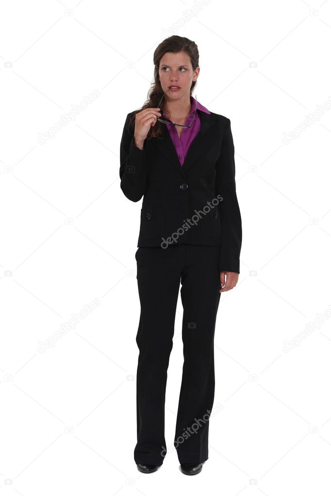 Thoughtful full length businesswoman — Stock Photo #11862187