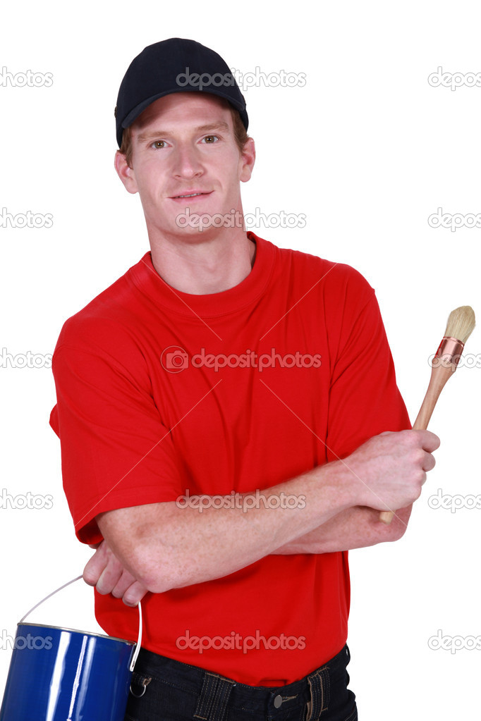 Decorator with a tin of paint — Stock Photo #11862834