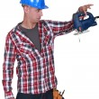 Workers with broken chainsaw — Stock Photo #11876072