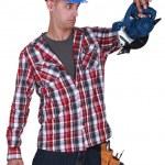 Carpenter stunned at sander machine — Stock Photo #11876104