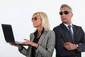 Suspicious business partners — Stock Photo