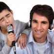 Father and son musical duo — Stock Photo