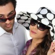 Young man and young woman fashionable - Stock Photo