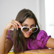 Cute woman wearing sunglasses — Stock Photo #11886205