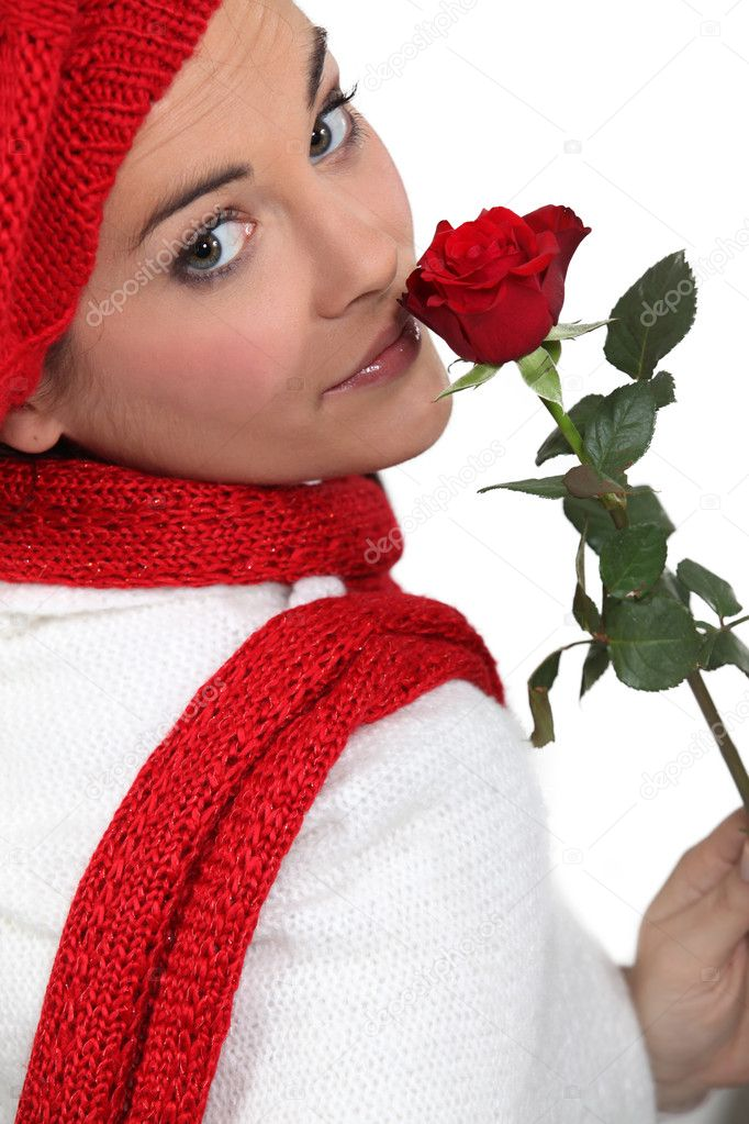 Woman holding single red rose — Photo by photography33 - depositphotos_11886994-Woman-holding-single-red-rose