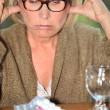 Senior lady taking too much pills — Stock Photo #11891630