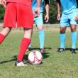 Close up of footballers' legs during friendly game — Stock Photo #11892204