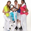 Girls with gym equipment — Stock Photo