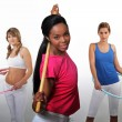 Women working out with hula-hoops — Stock Photo