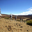 Tourist group walking in an arid landscape - Stock Photo