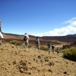 Tourist group walking in an arid landscape — Stock Photo
