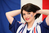 Female French soccer supporter — Stock Photo