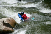 Canoing down rapids — Stock Photo