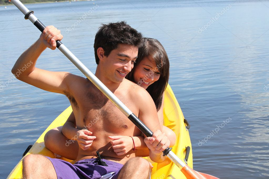 Young couple kayaking  Stock Photo #11891837