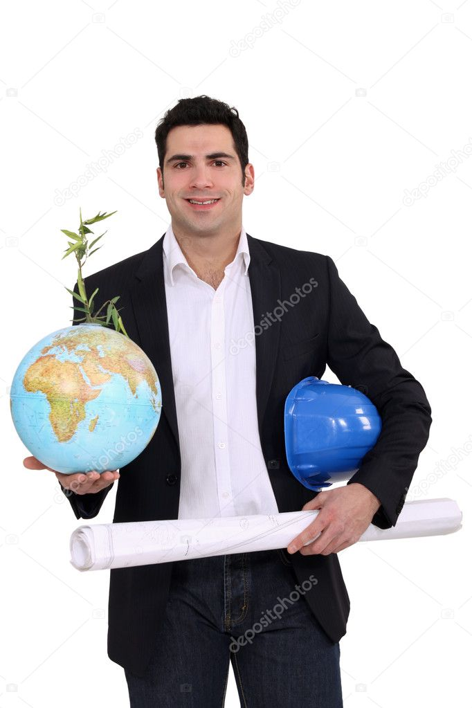 Architect holding globe and plans — Stockfoto #11895705