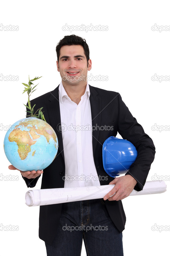 Architect holding globe and plans — 图库照片 #11895705