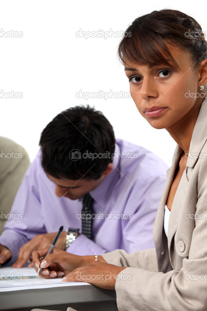 Business taking written exam — Stock Photo #11896781